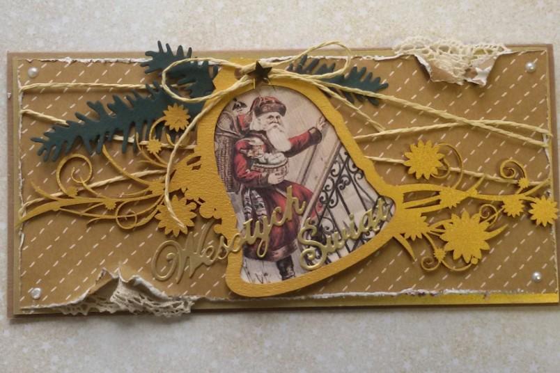 Kartka świączena DL złota