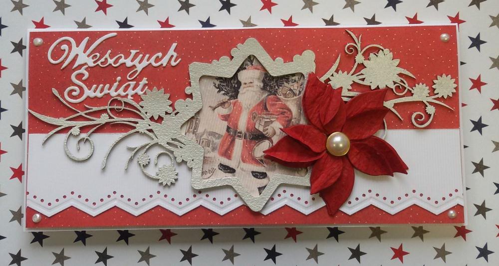 Kartka świąteczna DL czerwona