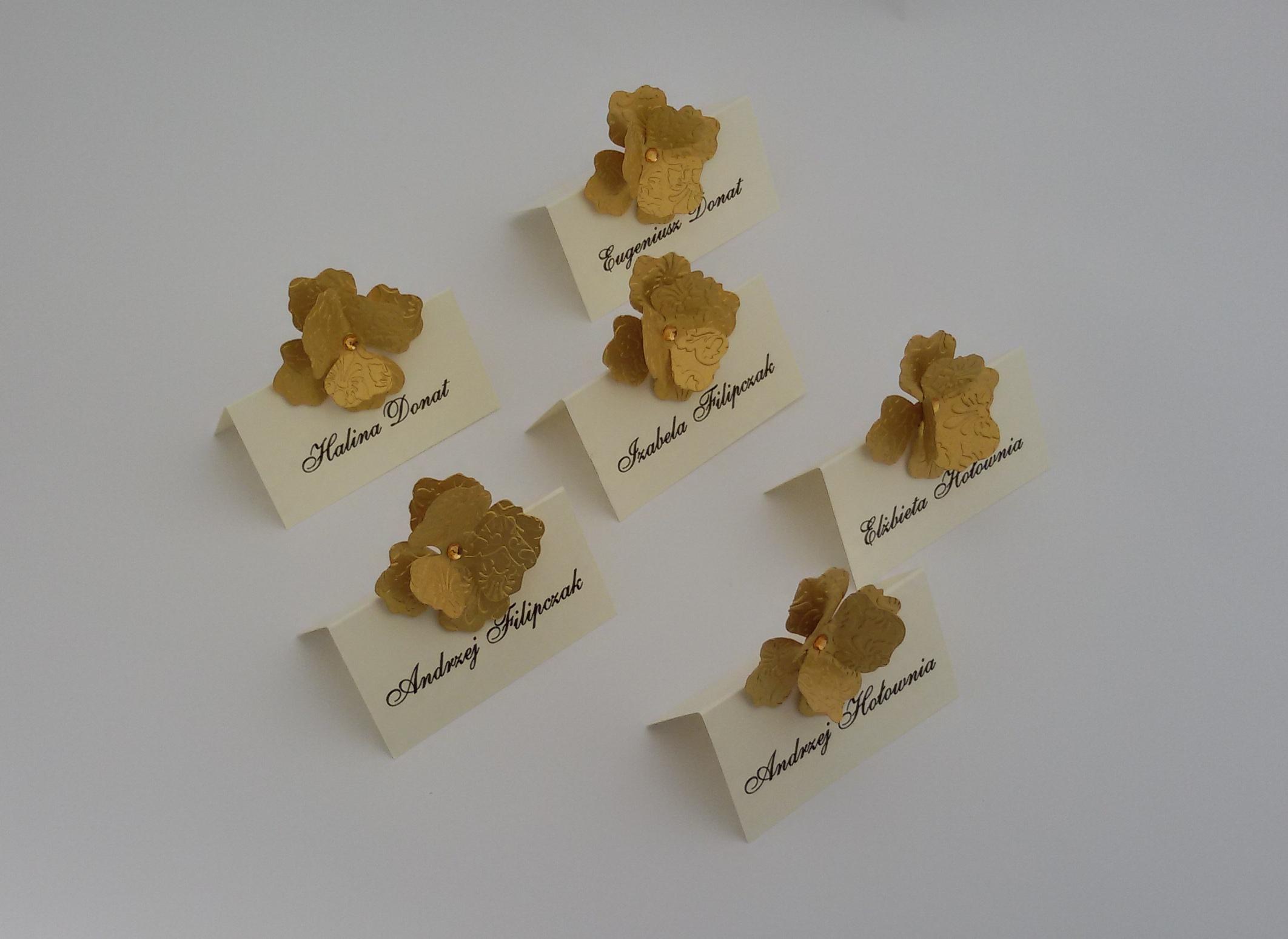 winietki ślub złoty kwiat