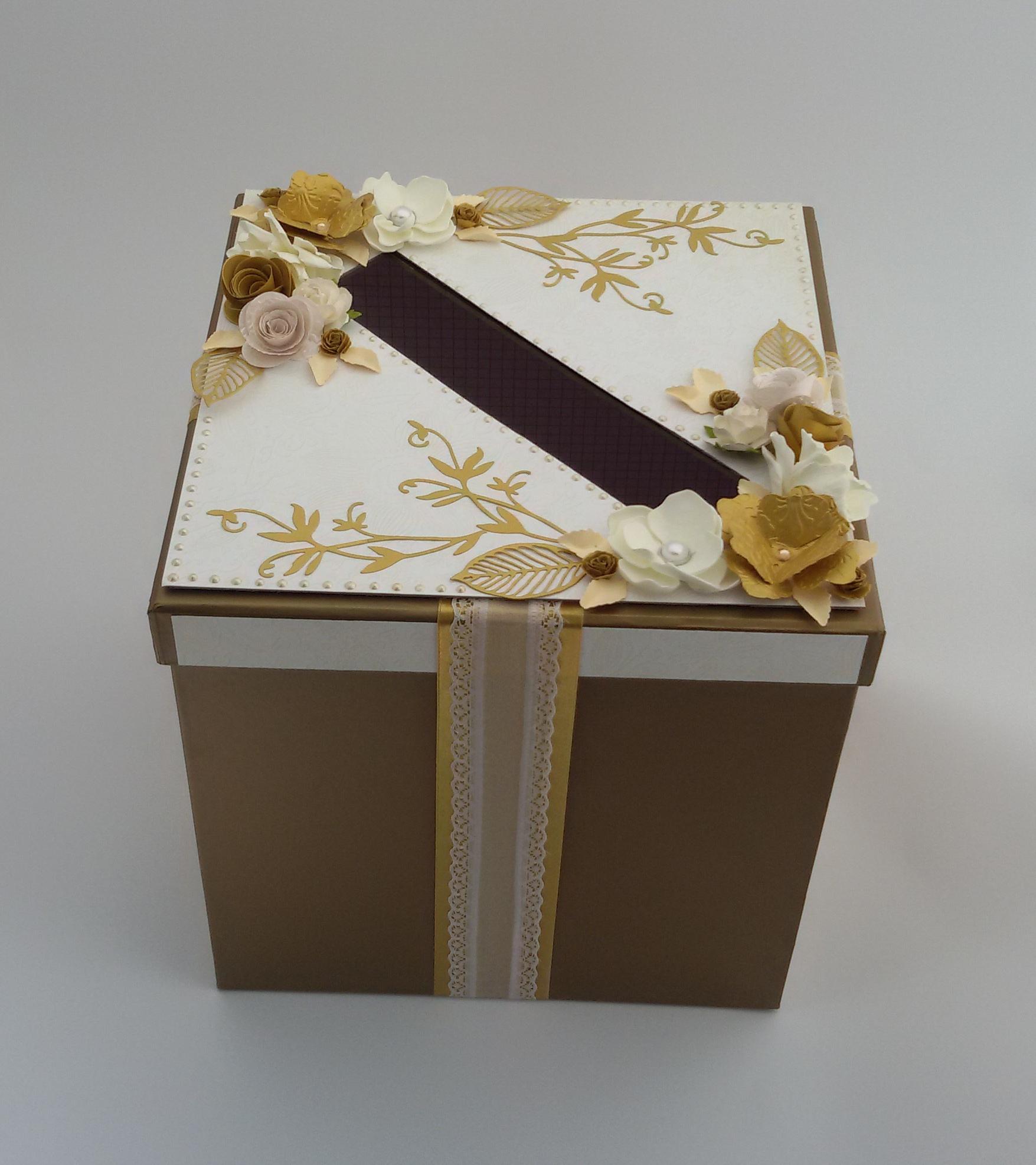 złote pudełko na koperty slubne