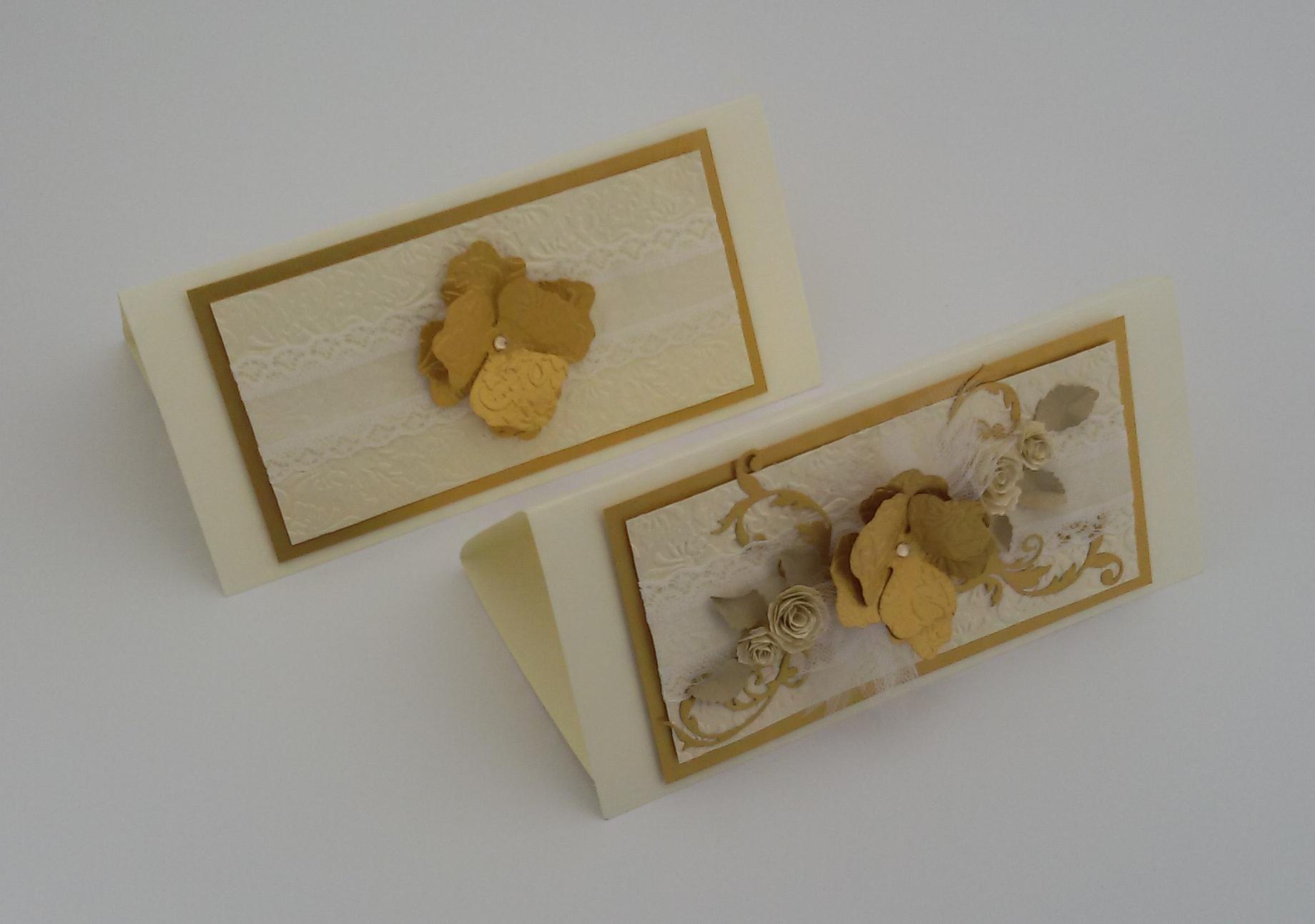 zaproszenia ślubne złoto ecru